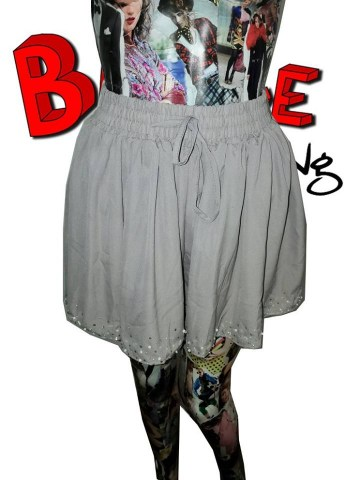 grey baggy embelished beaded shorts