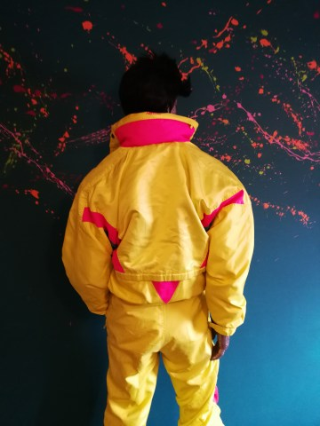 neon yellow pink vintage snowsuit
