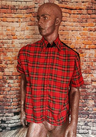 shirt red tartan studs studded