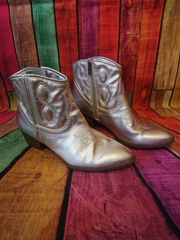 silver cowboy boots
