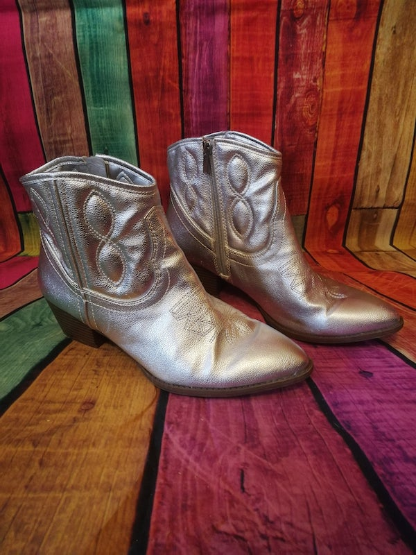 silver cowboy ankle boots