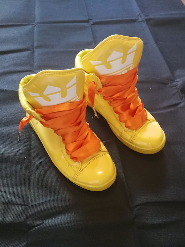 yellow high top trainers with orange ribbon laces (preloved)